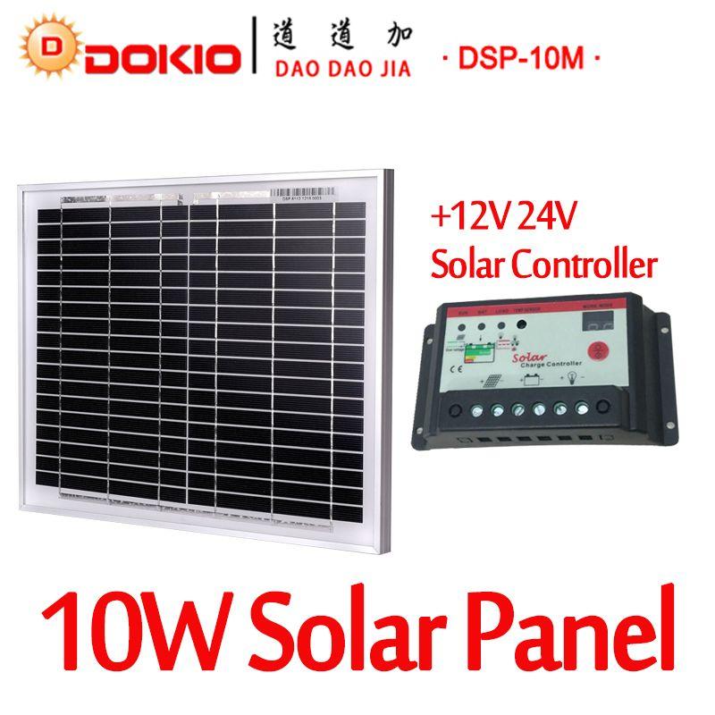 Dokio מותג 10 W שחור פנל סולארי סין 10a 12 V 24 V בקר שמש 18 V רגולטור מטען סוללה סולארית פנל סולארי 10 ואט Solar Panels Solar Battery Solar Battery Charger