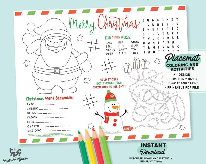 Christmas Activity Placemat Printable Christmas Placemat For Etsy Christmas Coloring Sheets Christmas Activities Christmas Placemats