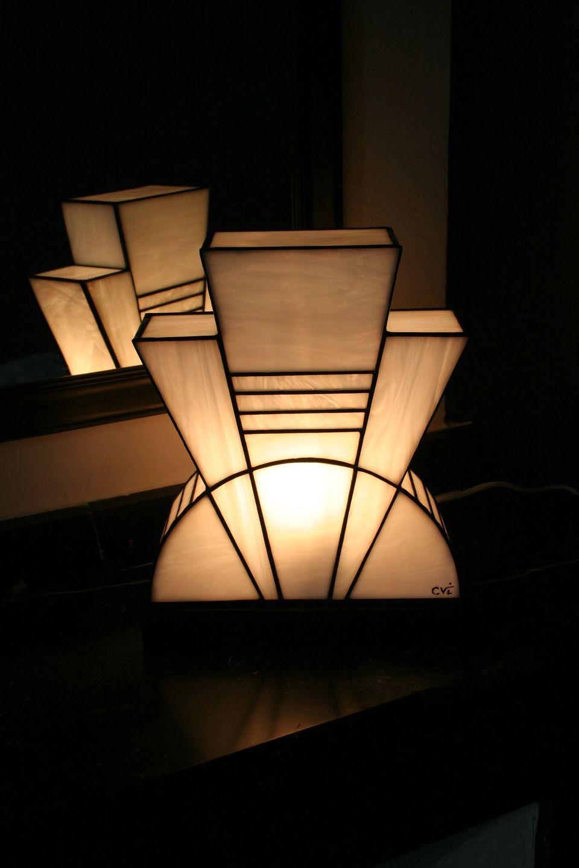 Lampe art déco vitrail tiffany blanc pureté
