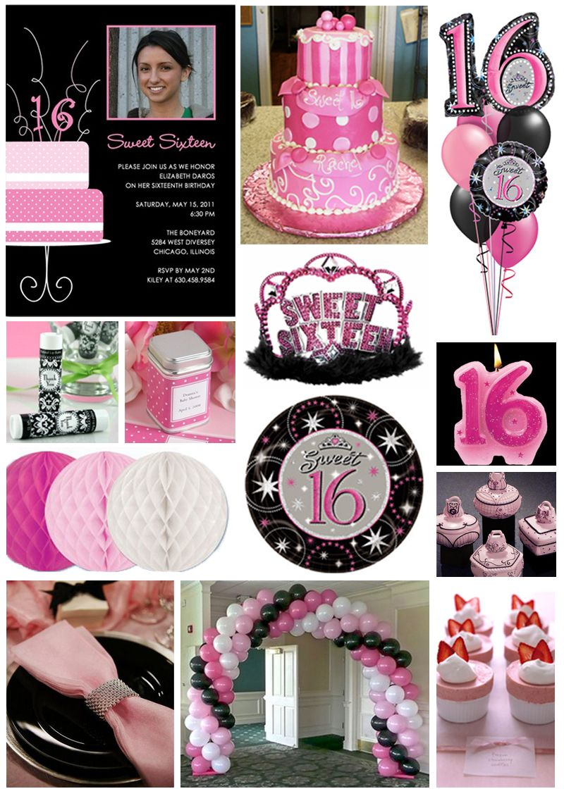 Inspiration board pretty in pink sweet 16 pink sweet 16 for 16th birthday decoration ideas