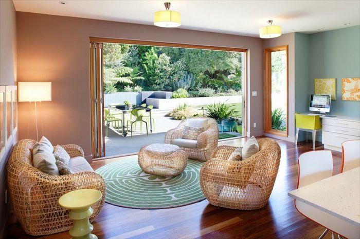 Ein Großes Wohnzimmer Mit Rundem Musterteppich In Türkisgrün Und - Grobes bild wohnzimmer