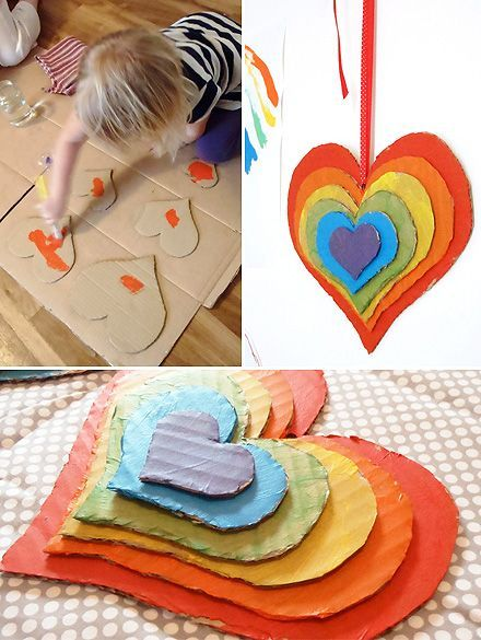 Kids Crafts #rainbowcrafts A divine cardboard rainbow craft – defiantly doing this weekend with Little Miss. It's beautiful. #rainbowcrafts