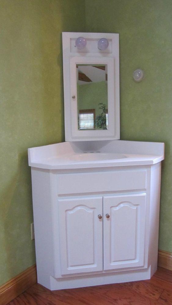 24x24 White Corner Vanity W Marble Top Medicine Cabinet Corner Vanity Vanity Cabinet Vanity For Sale