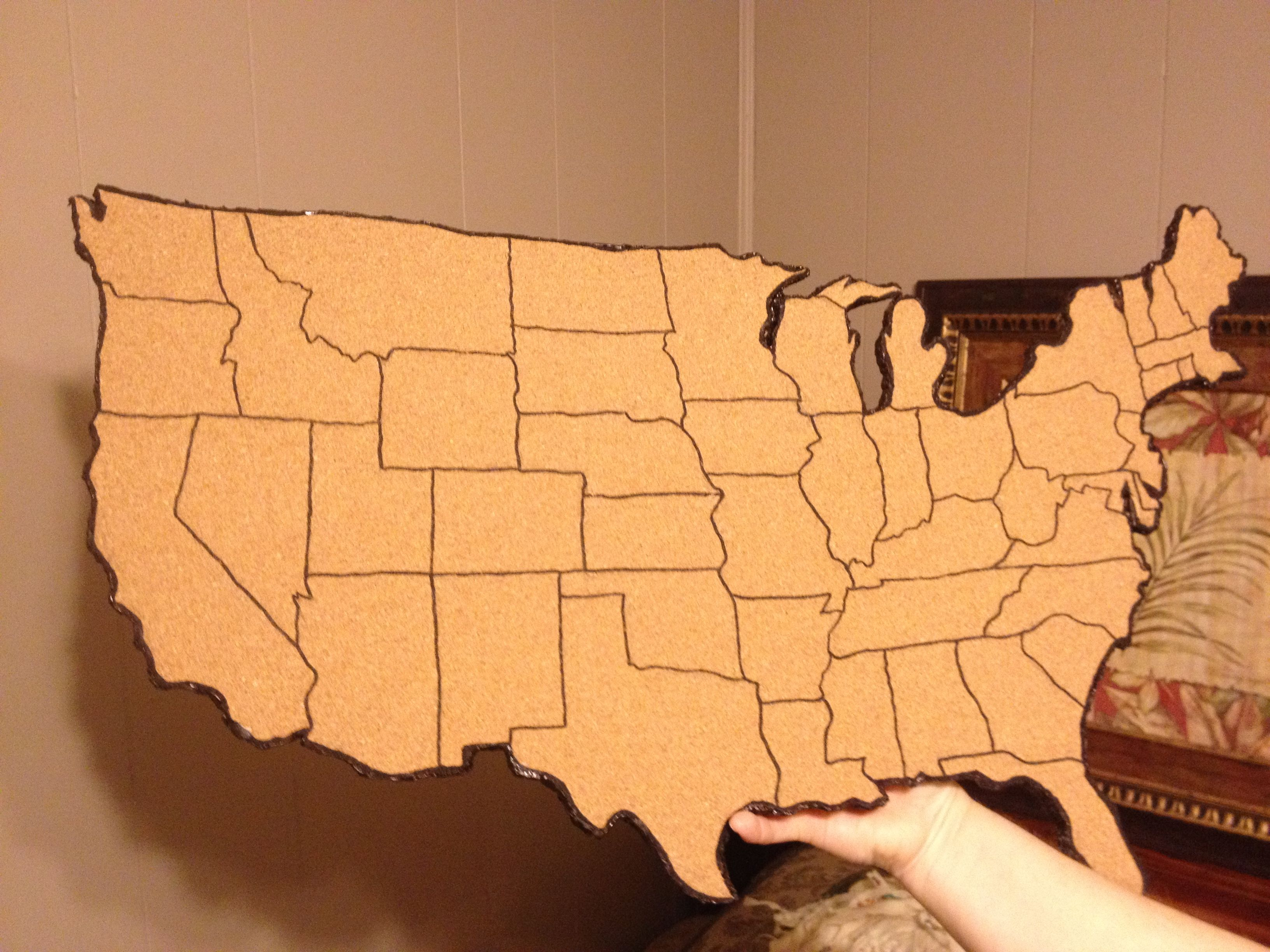 My cork board map of united states Put small picture on every