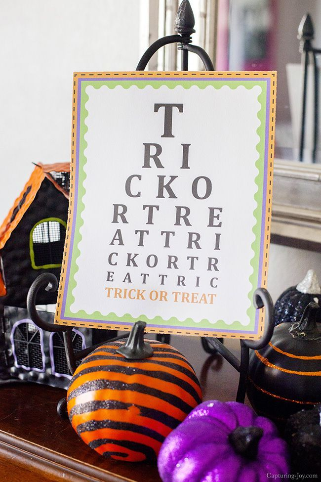 Halloween Printables - Free Trick or Treat Eye Chart Decoration - cute halloween gift ideas
