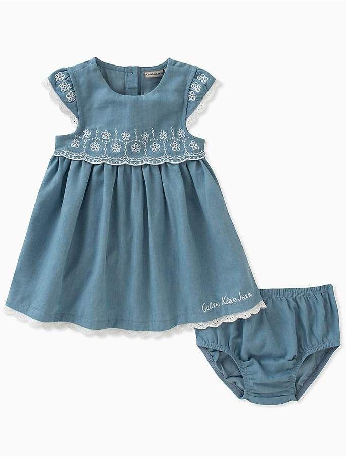 Calvin Klein Baby Girls Light Denim Lace Dress Bloomers