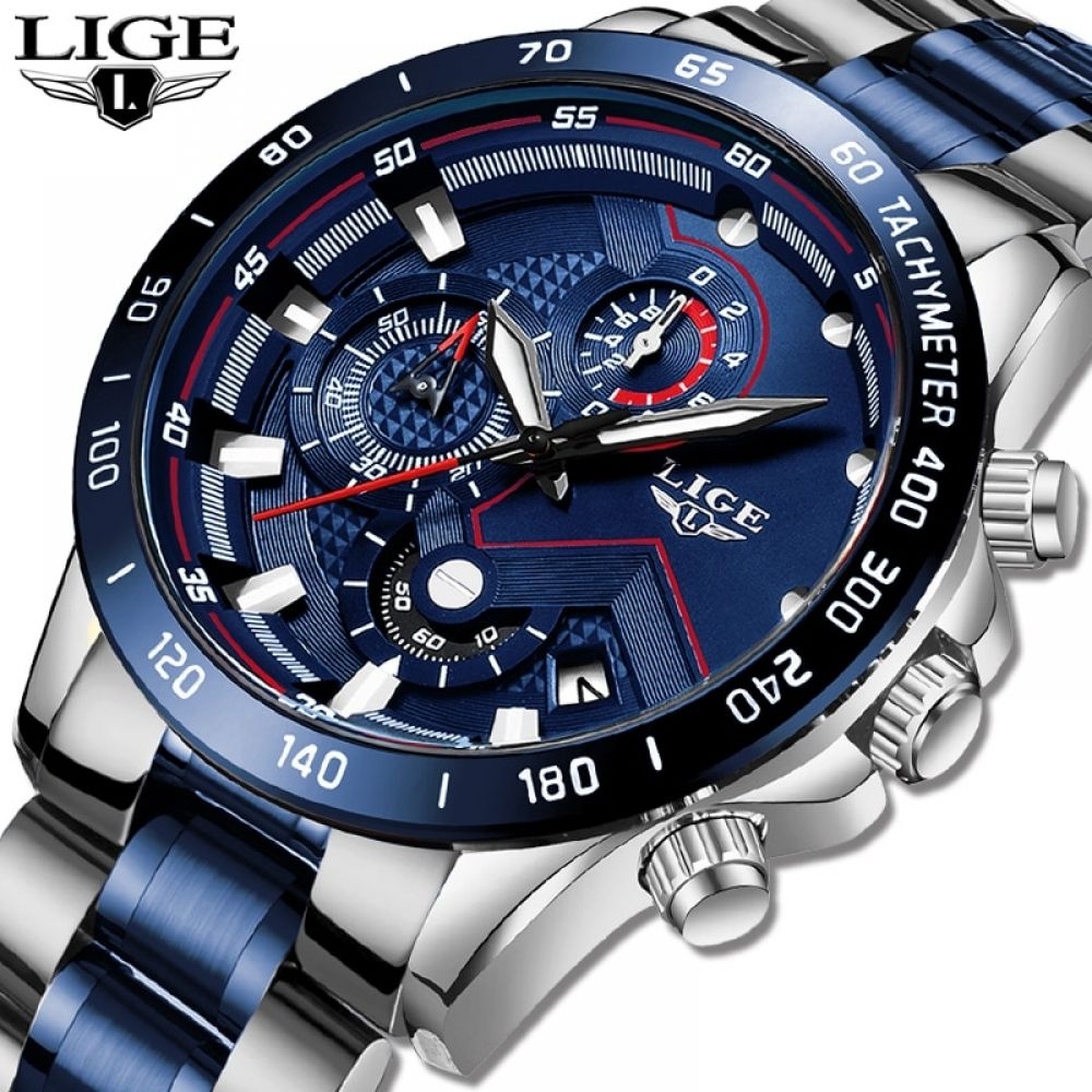 LIGE Hot Fashion Mens Watches Top Brand Luxury Wrist Watch Quartz Clock Blue Watch Men Waterproof Chronograph #sportswatches