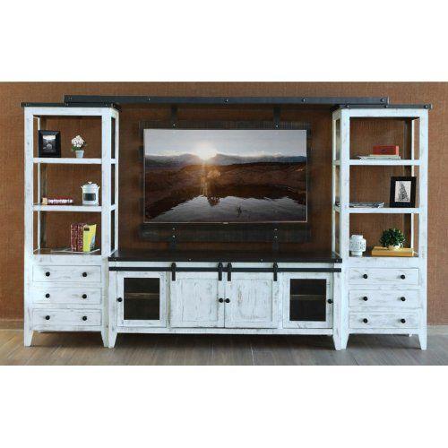 Dfw Direct Furniture: Distressed White 4 Piece Modern Entertainment Center