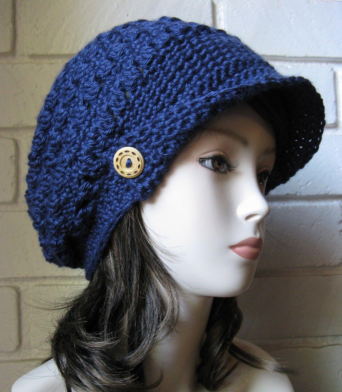 Navy Blue Slouch Newsboy Hat Crochet Slouchy Newsboy Cap Adult  Beanie Hat with Visor Beret Tweed Cap Beanie hat Slouchy Crochet hippie Tam. $24.00, via Etsy.