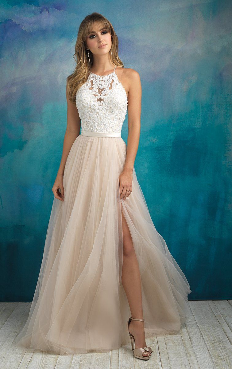 A petite beaded collar loops through the lace bodice of this tulle gown.  Colors  Champagne Ivory Nude Silver 5315c38d74ea