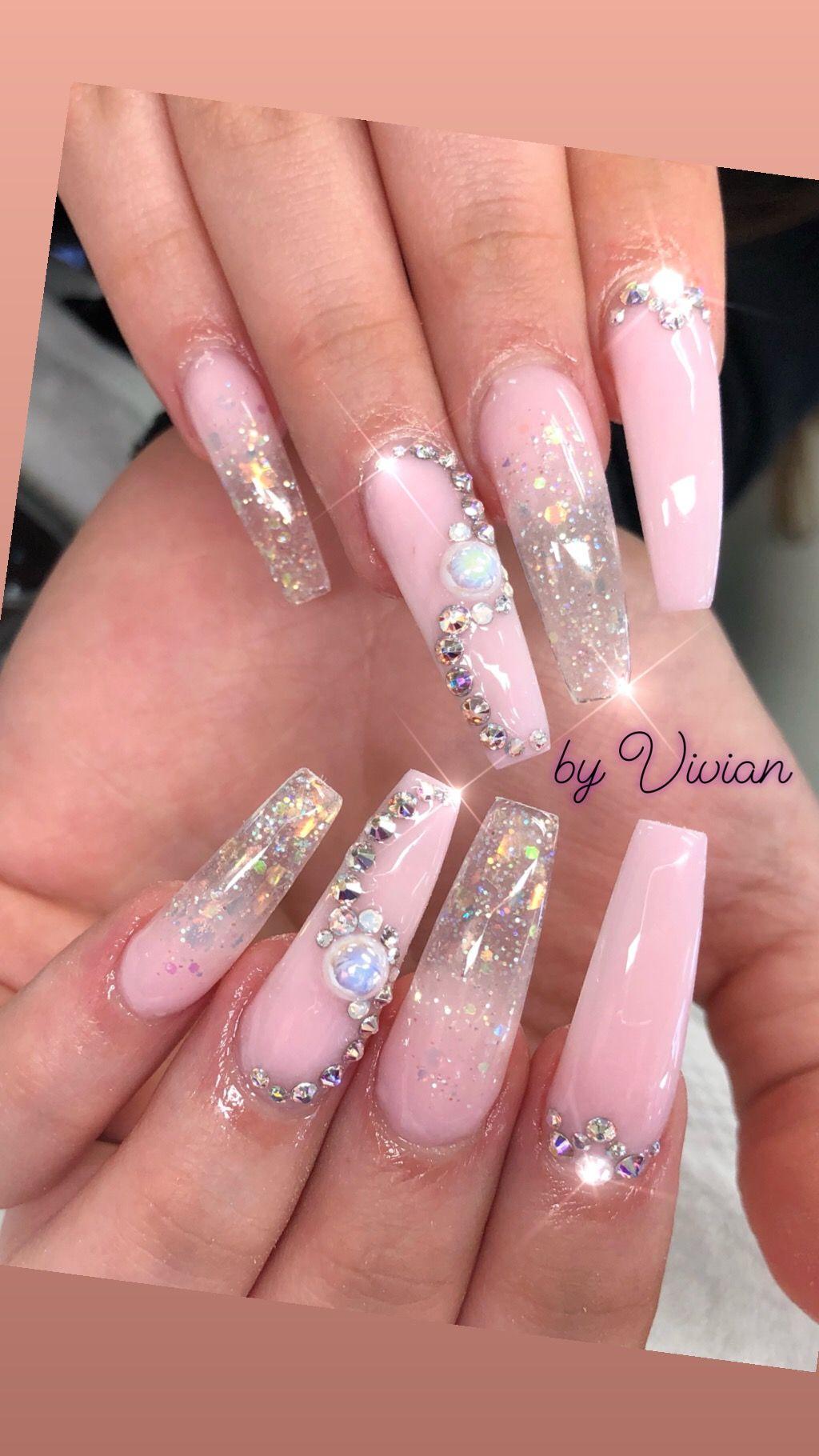 Pink Powder With Diamonds Nail Art Acrylic Nails Nails