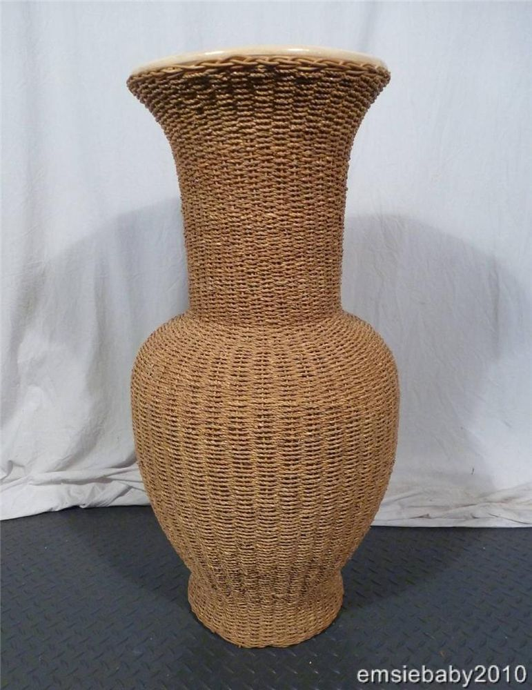 Large Floor Standing Rattan Seagrass Vase Pot Urn Indoor