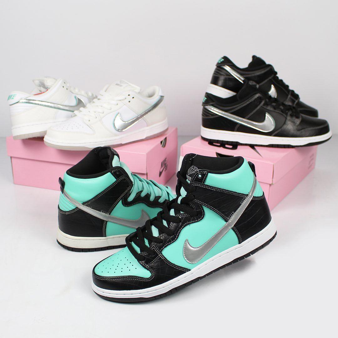 Nike Sb Dunk Low X Diamond Supply Co White Diamond 40 Br 8 5 Us 26 5 Cm Produto Novo Com Extra Lace E Caixa Origina Nike Sb Nike Dunks Sneakers Nike