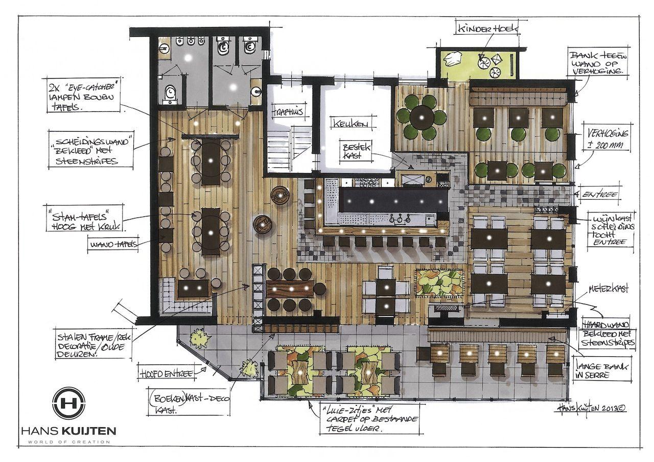Hans Kuijten Projecten GrundrisseArchitekturRestaurant LayoutRestaurant DesignPizza RestaurantCafe EinrichtungenRestauranteinrichtungenInterior Skizze