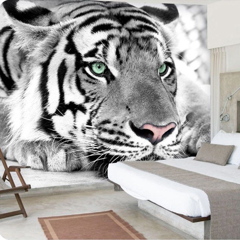 White Bengal Tiger Wallpaper in 2019 Wall painting