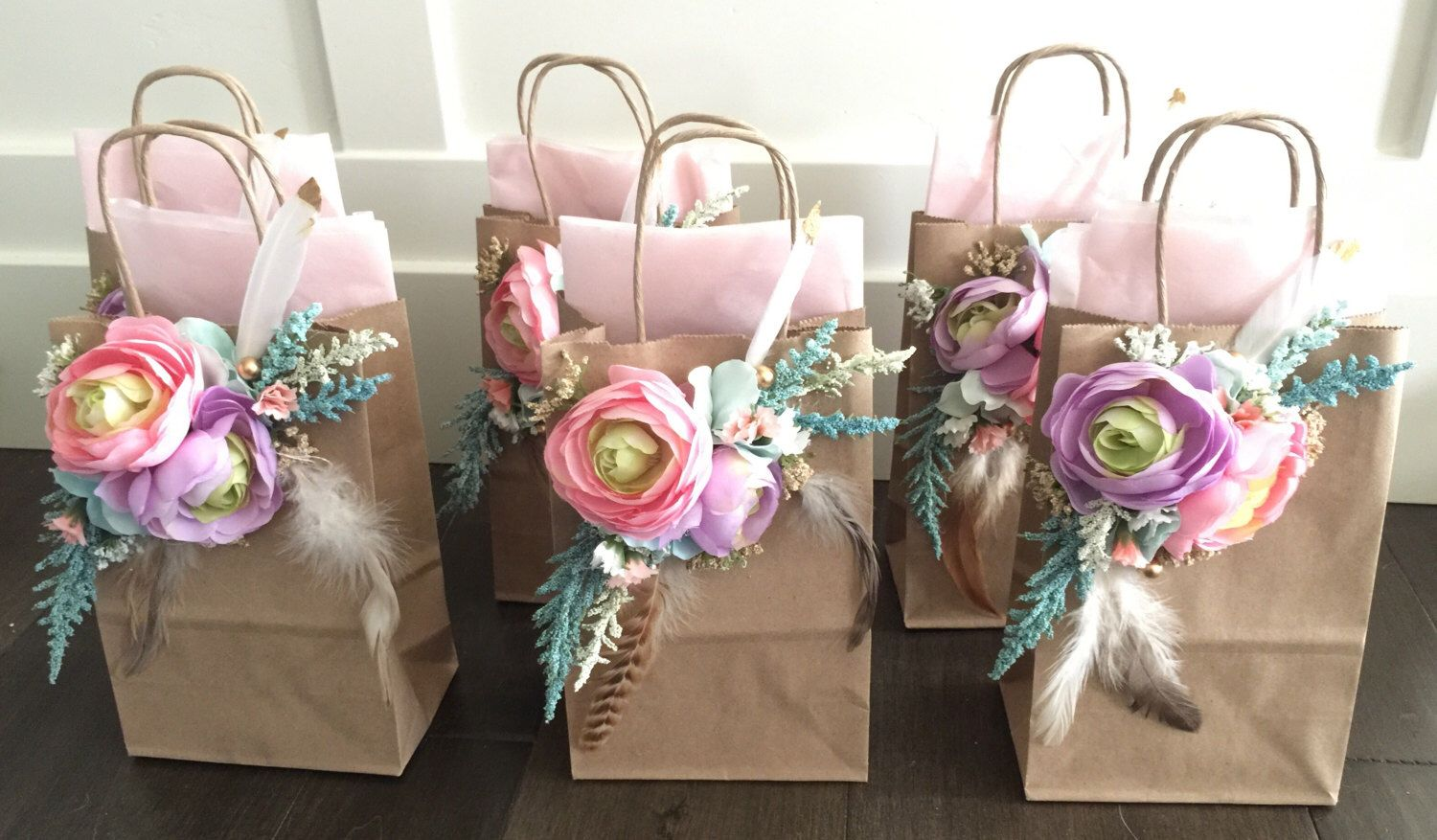 Boho flower Gift Bags, 6piece , Pow Wow Wedding, Baby