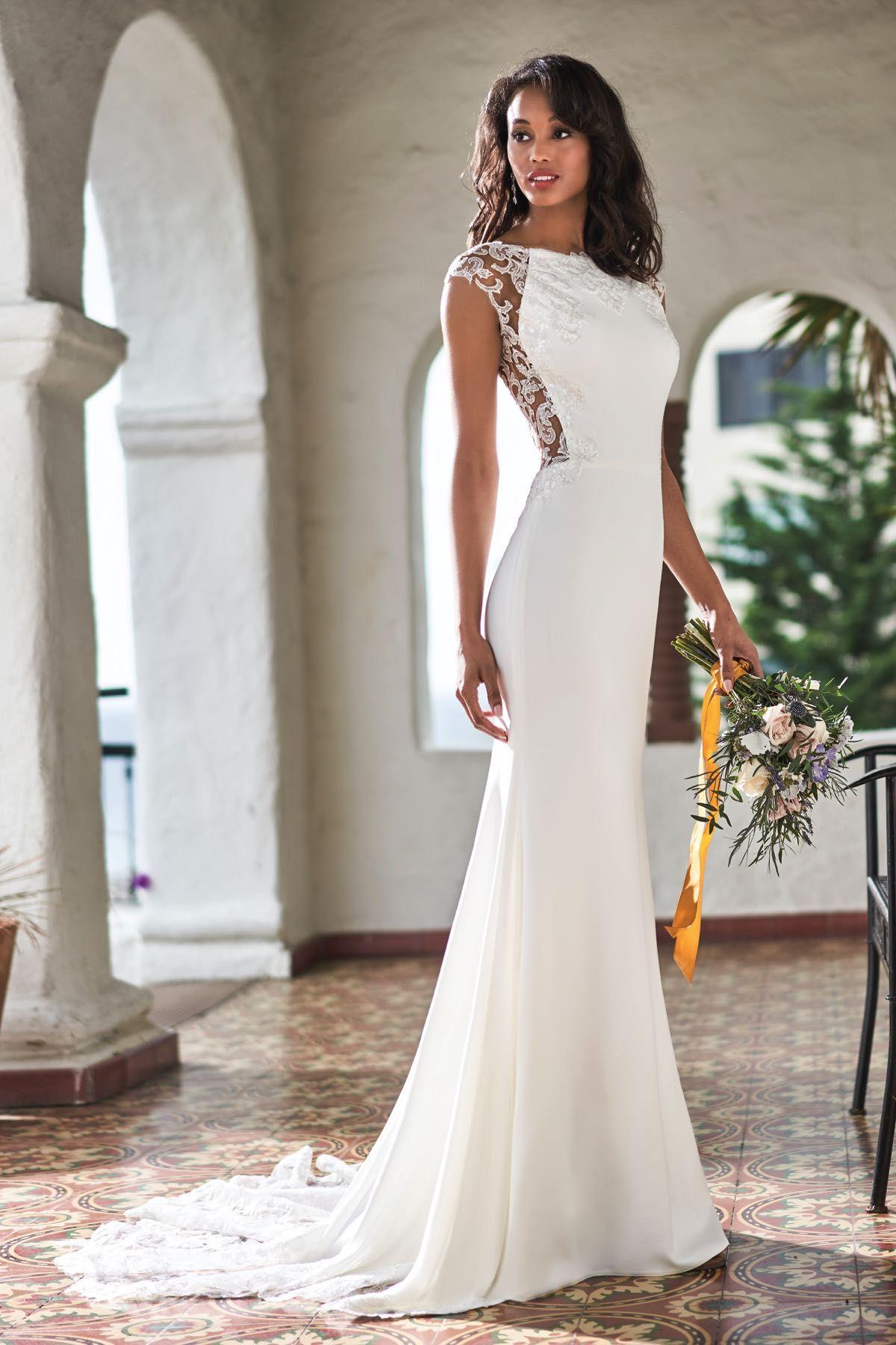 T212052 Romantic Sequin Lace & Stretch Crepe Wedding Dress