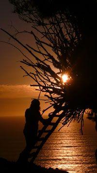 Ocean view camping nest at Treebones Resort in Northern Cali