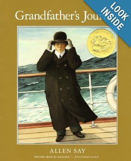 Boston Globe-Hornbook Illustration - This book tells the story of the writer's grandfather's journey from Japan to America.