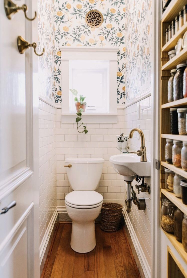 Classic white subway tile with classy wallpaper power room design small powder also cool half bathroom ideas and designs you should see in rh pinterest