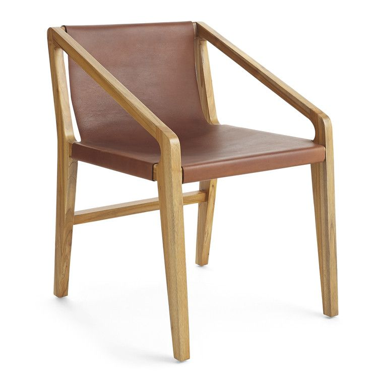 Danish leather teak sling chair in 2020 white leather