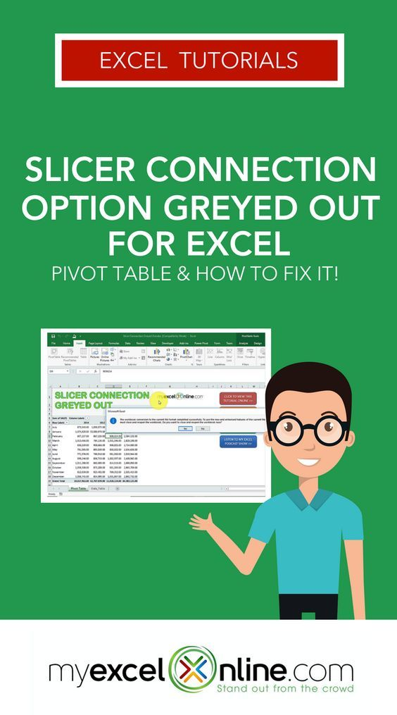 Sometimes when you create  pivot table and want to insert slicer are unable do this as the button is greyed try click on also connection option out for excel rh pinterest