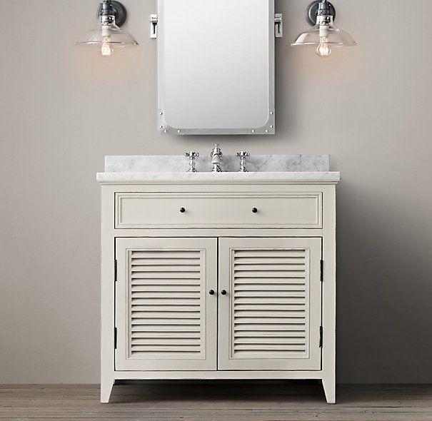 Shutter Bath Single Vanity Sink Distressed White