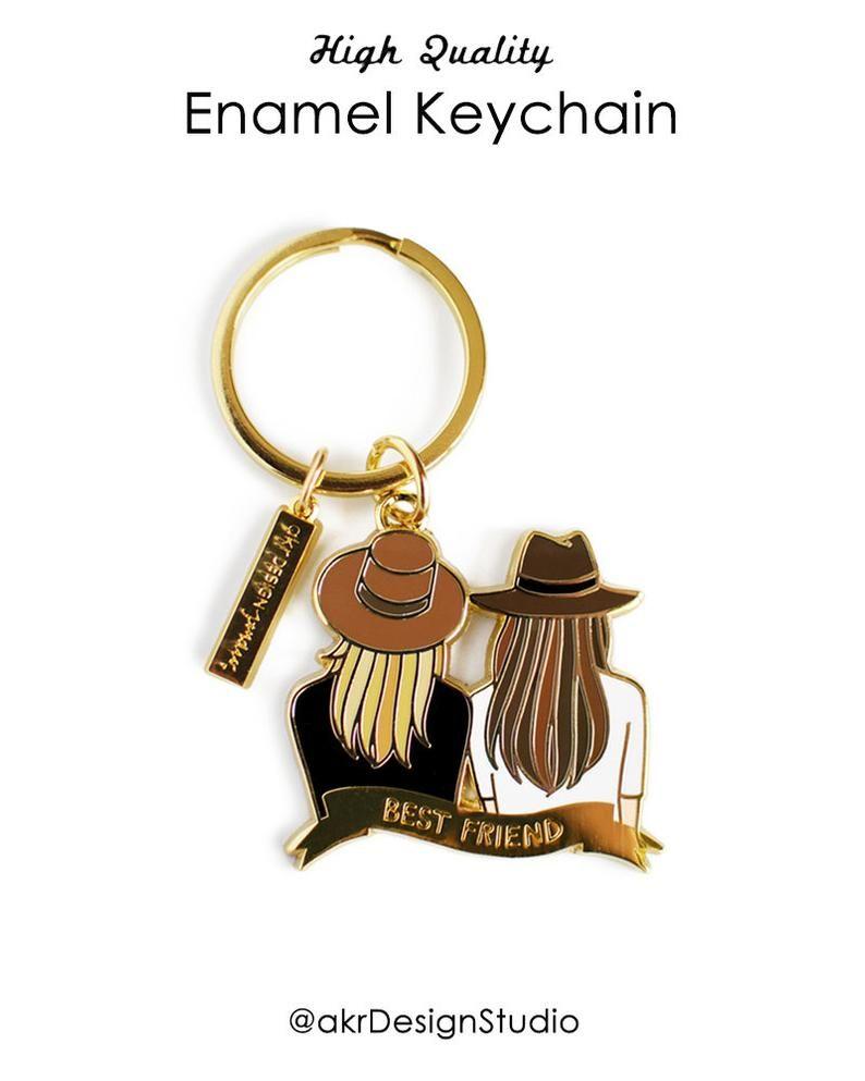 Best friend gift best friend keychain blonde brown