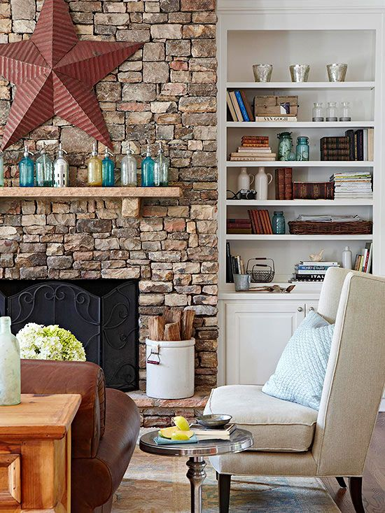 Today, there are all manner of fireplace styles, and they come as slick and polished as you can dream up. But if you like the comfort of an old-world throwback, there's nothing better than a rustic fireplace. Here are some ru