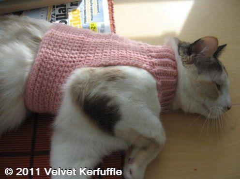 Crochet Pattern Mock Turtleneck Sweater For Cats Velvet Kerfuffle