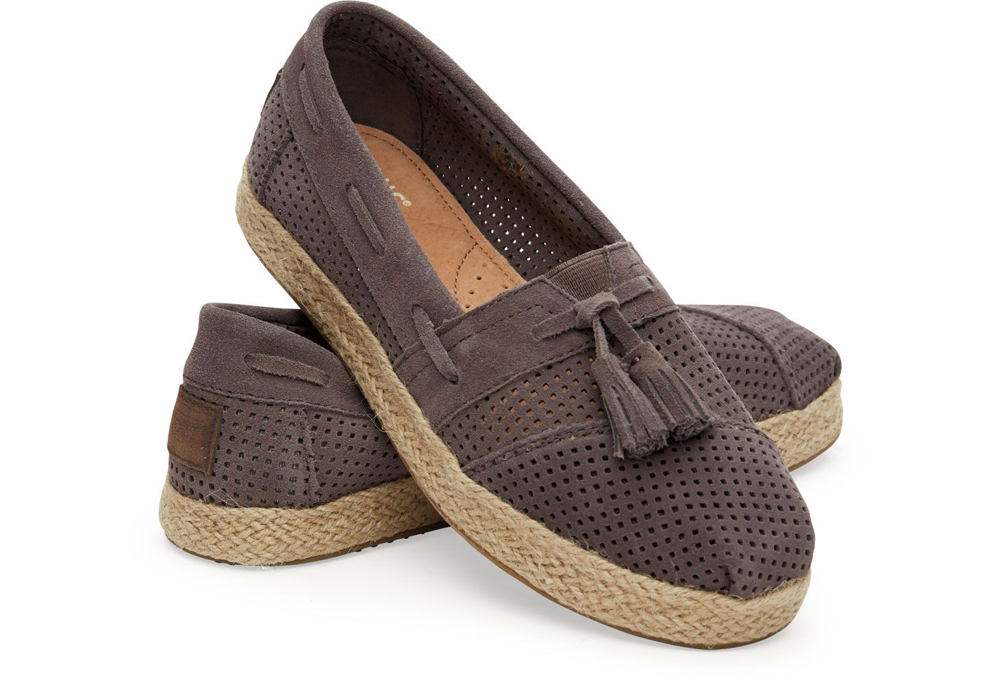 I'm kind of obsessed with these - Ash Suede Perforated Women's Alpargata High Rope | TOMS