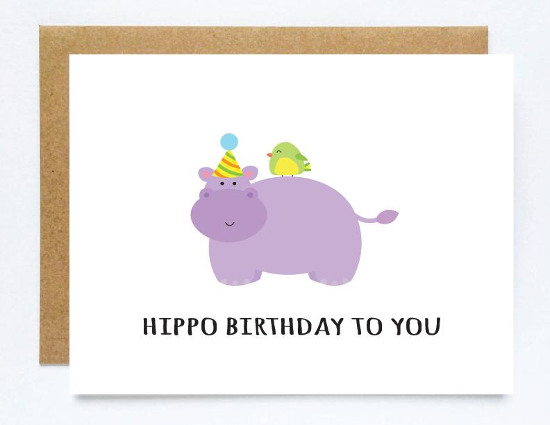 Funny Hippo Birthday Card Hippo Birthday Card Cute Animal Pun Etsy Funny Anniversary Cards Birthday Cards Cute Christmas Cards