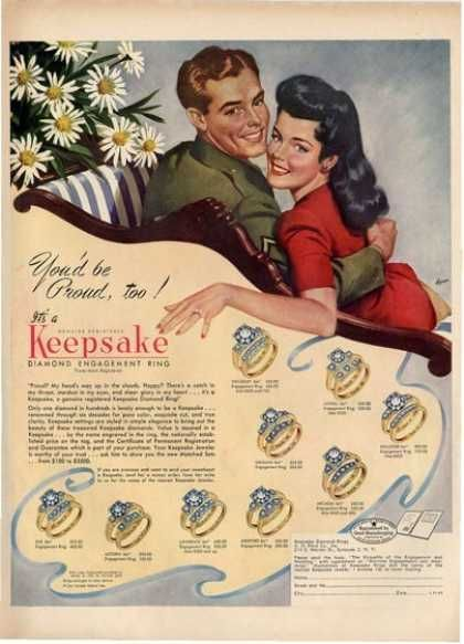 Wwii Era Keepsake Diamond Engagement Rings Ad Ca 1940s
