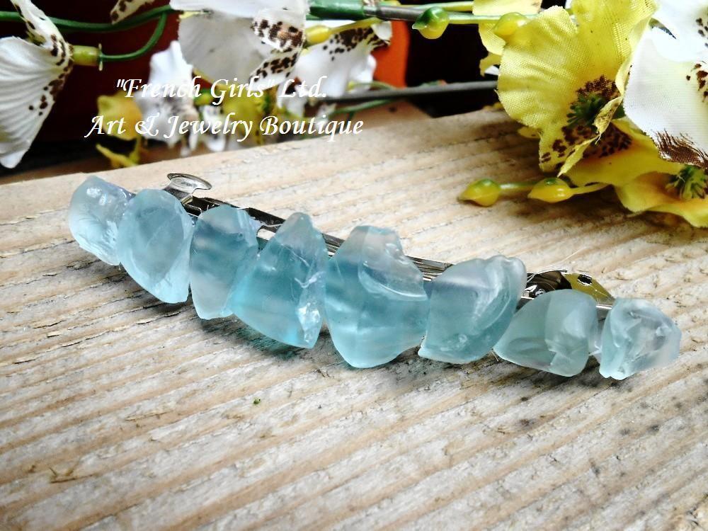 Boho Womens Wedding Hairpins Faux Raw Quartz Crystal Gradient Hair Clip Stick w