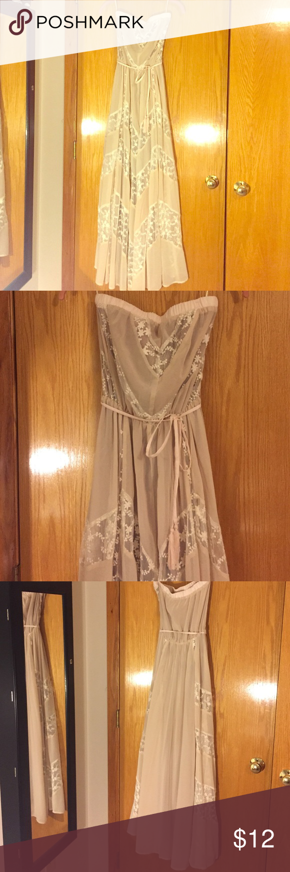 Long strapless dress Never worn!! This is a beautiful dress that can be dressed up or worn any way. Has a great flow. Lace flower print Arden B Dresses Strapless