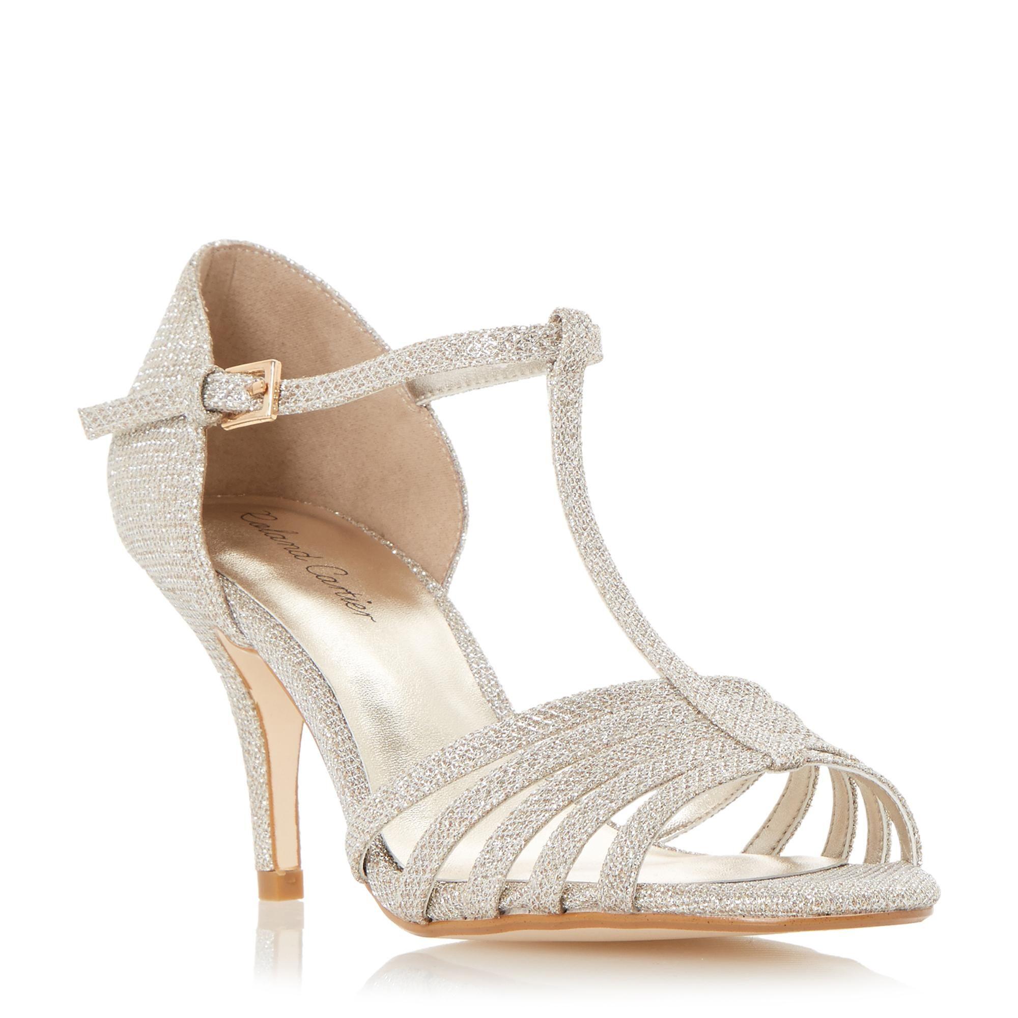 Roland Cartier Ladies Malabu T Bar Strappy Mid Heel Sandal