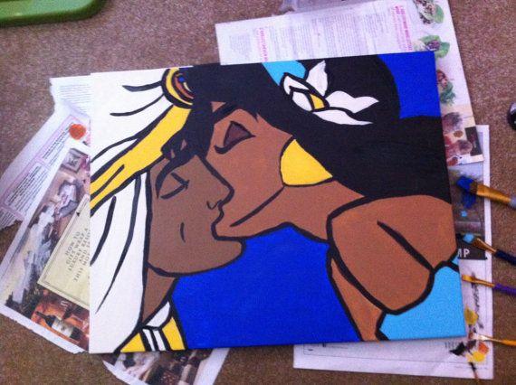 Disney Aladdin And Jasmine Kissing By Thedisneyyouremember On Etsy