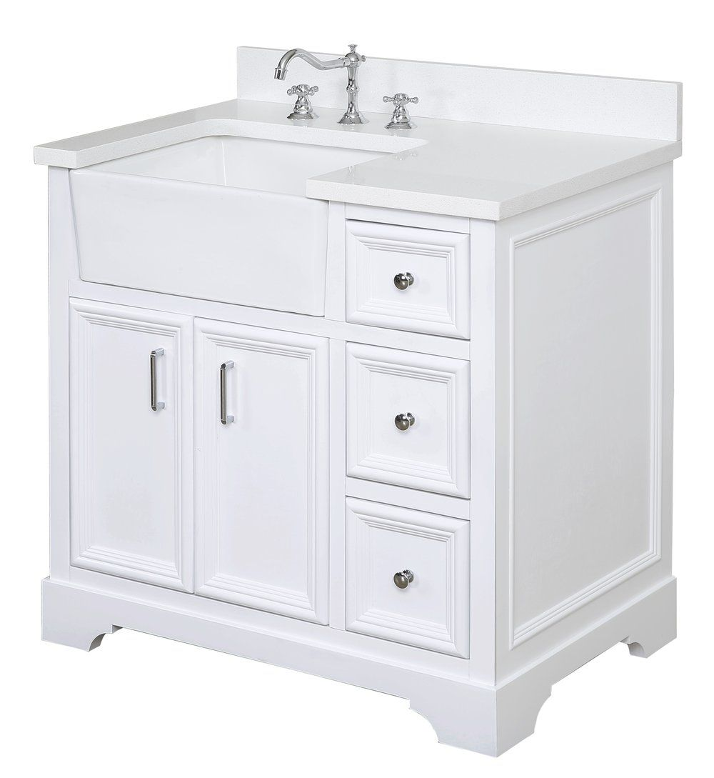 Zelda 36 Inch Farmhouse Vanity With Quartz Top Farmhouse Style Bathroom Vanity Single Bathroom Vanity Bathroom Farmhouse Style [ 1089 x 1000 Pixel ]