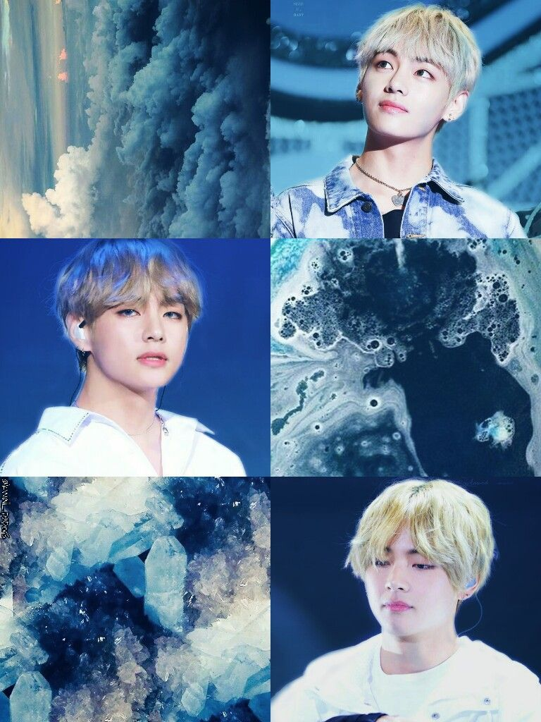 Bts Bangtan Kim Taehyung Blue Aesthetic Collage Wallpaper By