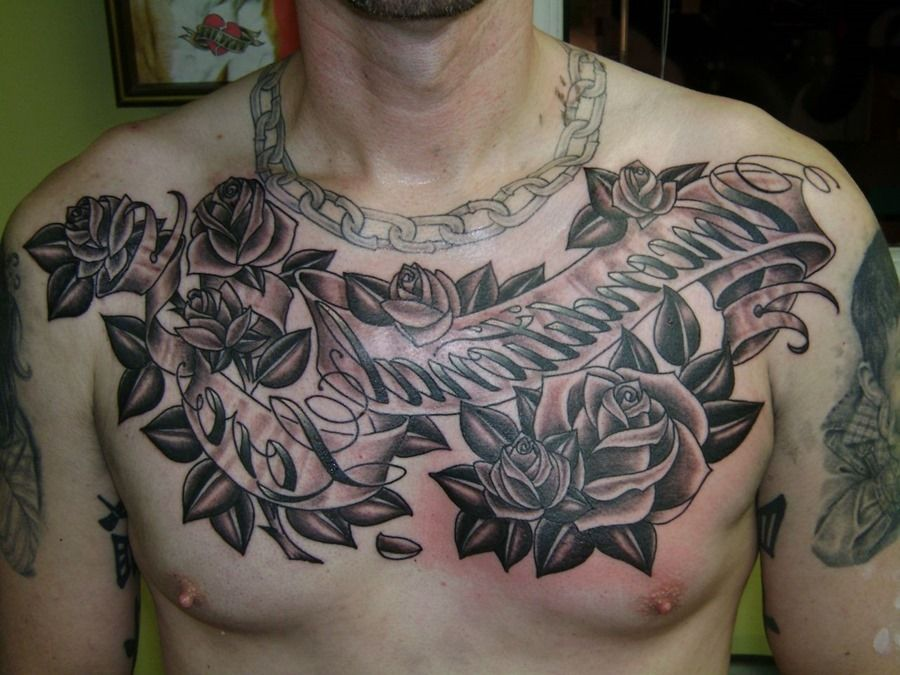 Awesome Chest Roses Tattoo For Man