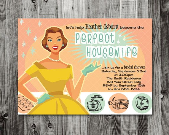 the perfect housewife printable bridal shower invitation