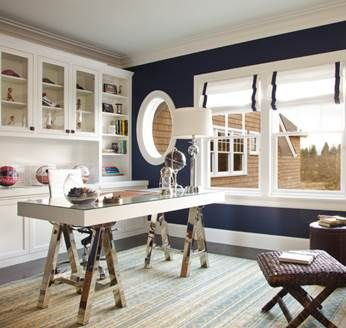 Hamptons Style Home Office With Roman Blinds And Stand Alone Desk Home Office Design Nautical Interior Design Contemporary Home Office
