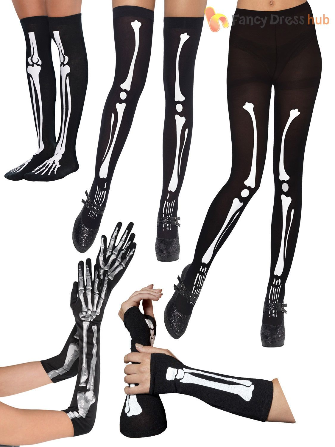Skeleton Bones Printed Tights Halloween Fancy Dress