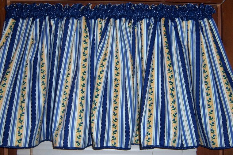 Blue And Yellow Plaid Curtains | SALE   Wide Blue/ Yellow/ White Striped  Kitchen