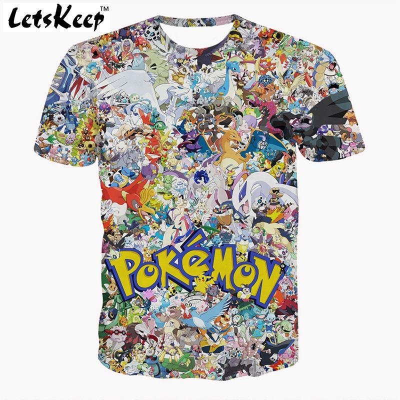 96a511fba22 2016 letskeep s-3xl mens 3d anime ir camiseta de pikachu de la historieta  más el tamaño de las camisetas unisex camiseta transpirable homme