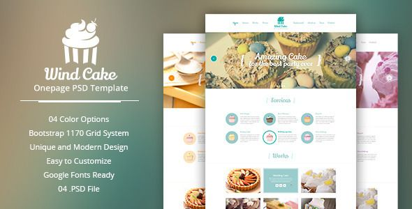 Wind Cake One Page Psd Template Psd Templates Cake And Google Fonts