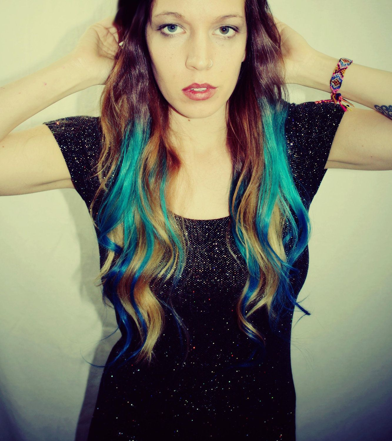 ombre turquoise blue tip dyed hair