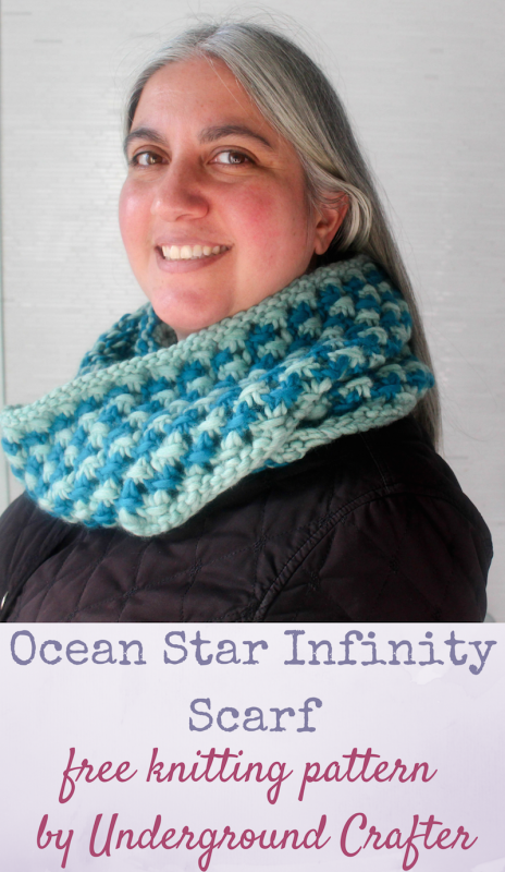 Free Knitting Pattern Ocean Star Infinity Scarf Knit Scarves And