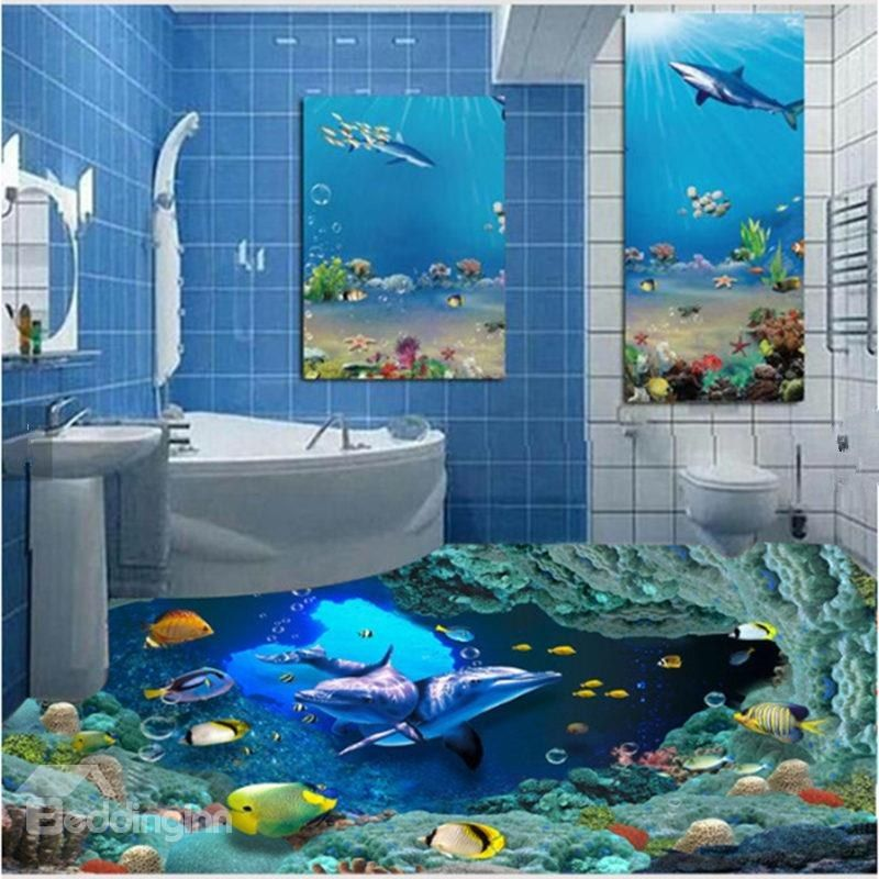 Cute Dolphins And Fishes Under The Sea Pattern Healthy Splicing Waterproof 3d Floor Murals Floor Murals Floor Wallpaper 3d Floor Painting