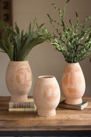 Kalalou Clay Pot Faces Set Of 3 Kalalou Decor Modish